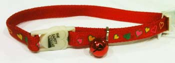 Safety Cat Collar - Heart Shaped Red