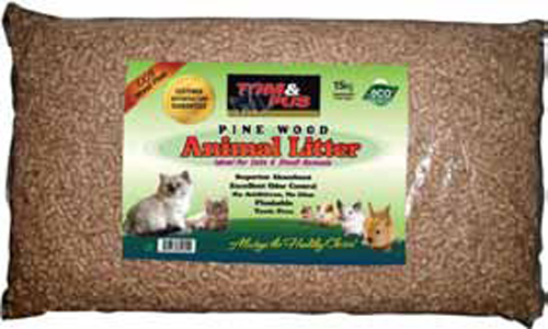 TOM & PUS Pine Wood Small Animal and Cat Litter (15kg)