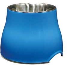 Elevated Dish with Stainless Steel Insert - Blue