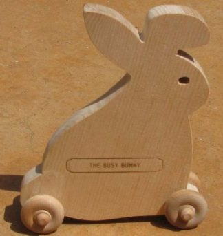 Busy Bunny - Wood Bunny on Wheels Toy
