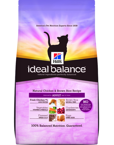 Hill's Ideal Balance Feline Natural Chicken & Brown Rice Recipe Adult – 15lbs