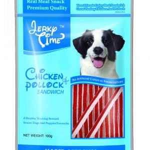Jerky Time Dry Chicken Jerky with Pollock Sandwich for Dog