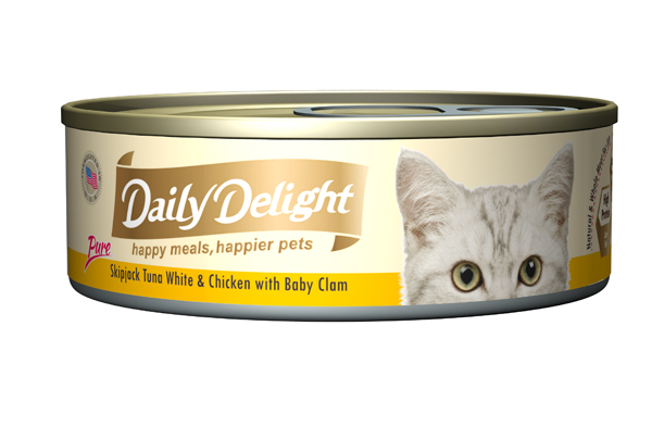 Daily Delight Cat Cans – Skipjack Tuna White & Chicken with Baby Clam