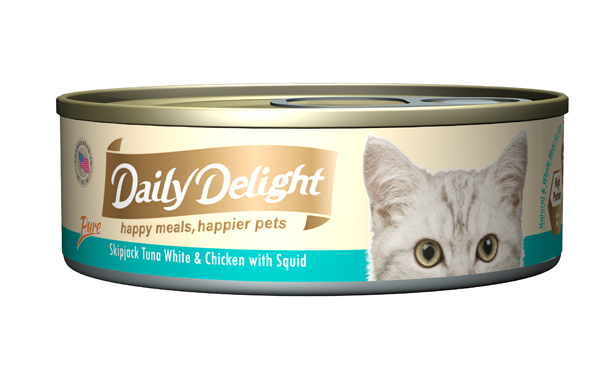 Daily Delight Cat Cans - Skipjack Tuna White & Chicken with Squid