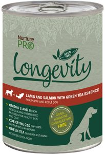 Nurture Pro Longevity Lamb Salmon green tea dog cans